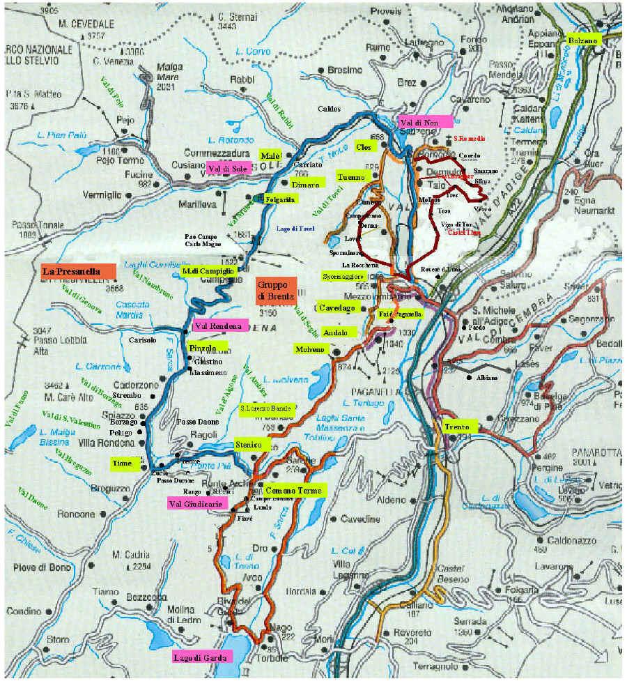 Cartina Stradale Del Trentino Alto Adige.Percorsi In Auto