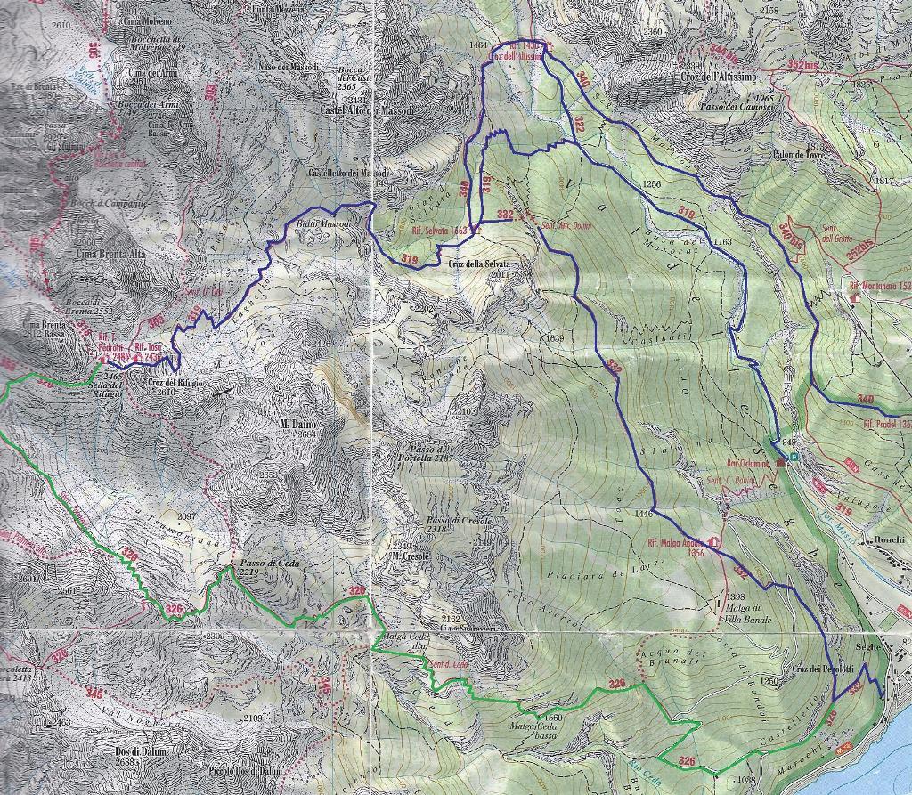 molvenosee karte Tour der Brenta Zentralkette und des Monte Daino molvenosee karte